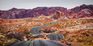 American road in the Valley of Fire State Park in Overton Nevada